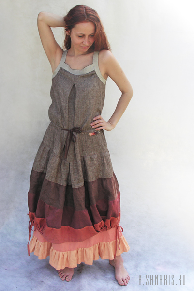 """Я сшила то, с чем мечтала носить платье-пальто - бохо-сарафан  """"Кокон из радуги натуральных цветов """"."""